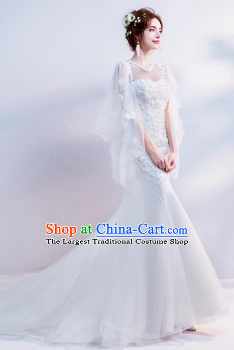Top Grade Handmade Wedding Costumes Wedding Gown Bride White Veil Mullet Full Dress for Women