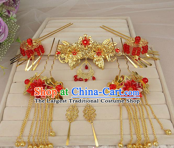 Chinese Traditional Xiuhe Suit Hair Accessories Tassel Step Shake Ancient Wedding Hairpins for Women