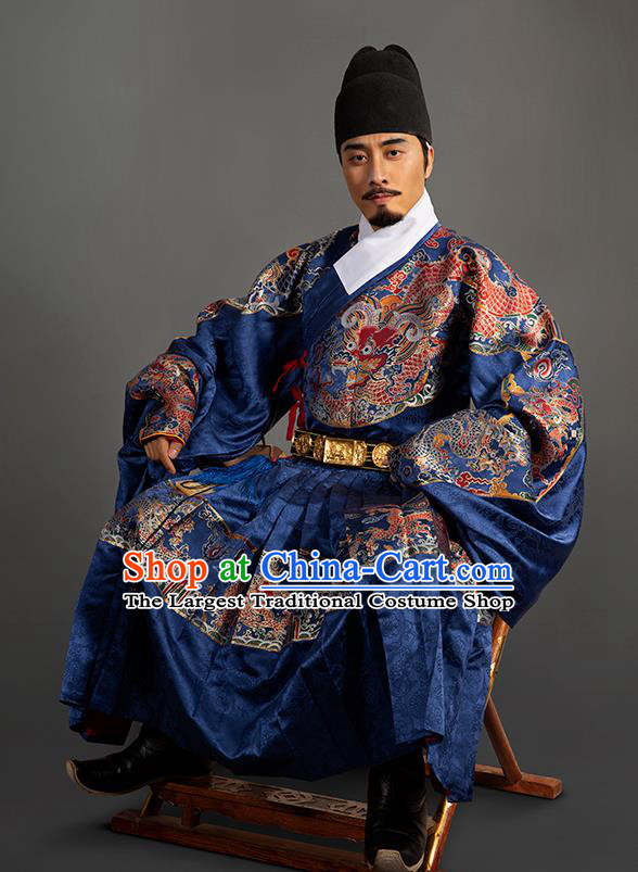 Chinese Traditional Ming Dynasty Emperor Clothing Ancient Padishah Embroidered Costumes for Men