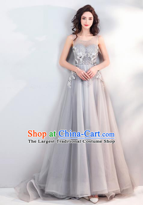 Top Grade Handmade Catwalks Costumes Compere Grey Full Dress for Women