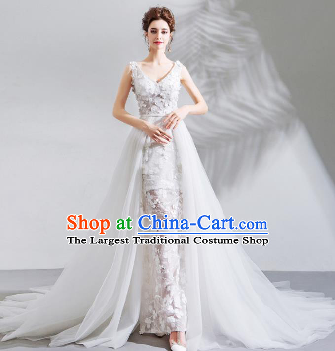 Top Grade Princess Fancy Mullet Wedding Dress Handmade White Lace Wedding Gown for Women