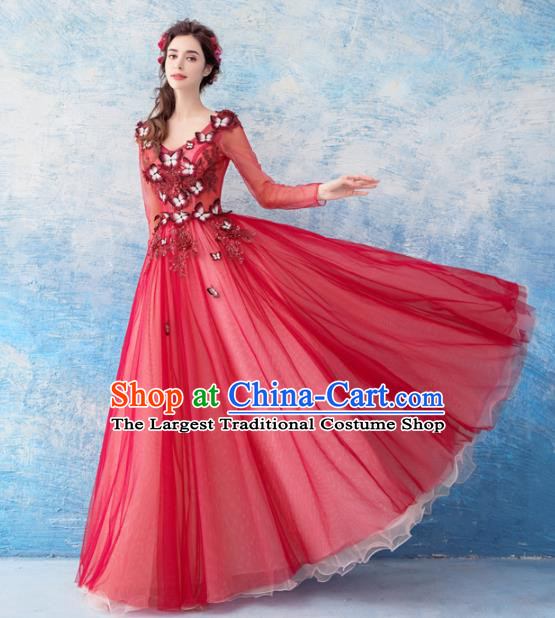 Handmade Princess Red Veil Wedding Dress Fancy Embroidered Wedding Gown for Women