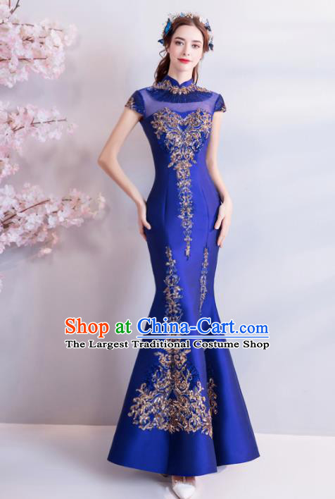 Chinese Traditional Royalblue Silk Cheongsam Wedding Bride Costume Compere Full Dress for Women