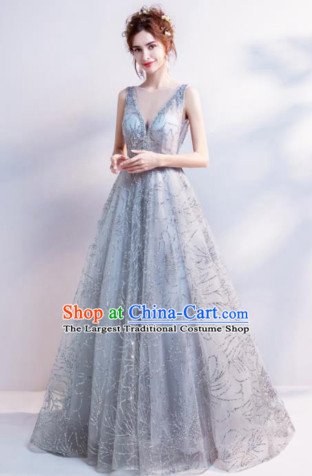 Handmade Grey Veil Evening Dress Compere Costume Catwalks Angel Full Dress for Women