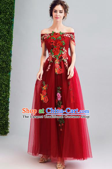 Chinese Traditional Red Veil Cheongsam Wedding Bride Compere Tang Suit Full Dress for Women