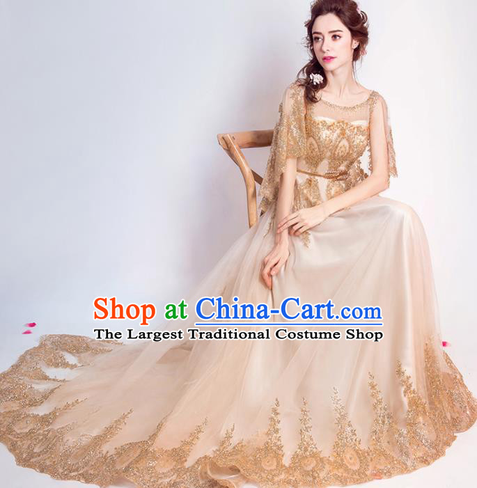 Handmade Bride Golden Embroidered Wedding Dress Princess Costume Flowers Fairy Fancy Wedding Gown for Women