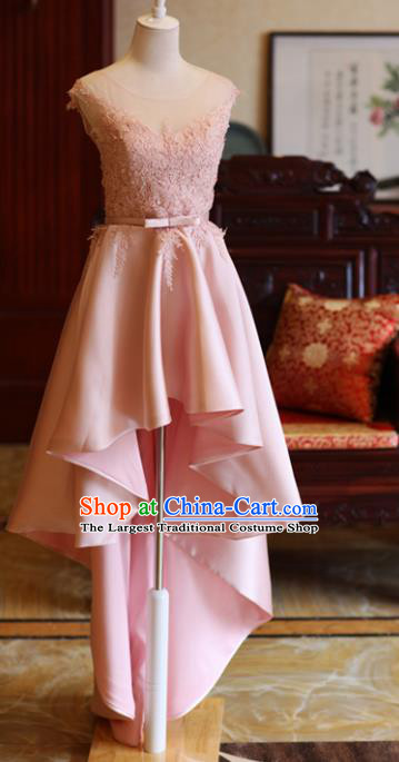 Handmade Pink Lace Formal Dress Compere Costume Catwalks Angel Evening Dress for Women