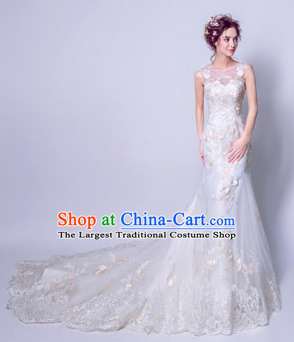 Handmade Bride Lace Trailing Wedding Dress Princess Costume Fancy Wedding Gown for Women