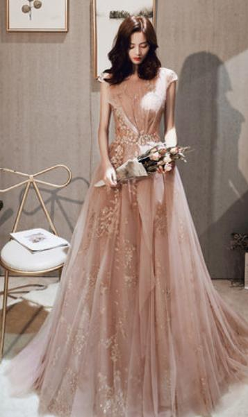 Handmade Embroidered Pink Evening Dress Compere Costume Catwalks Angel Full Dress for Women