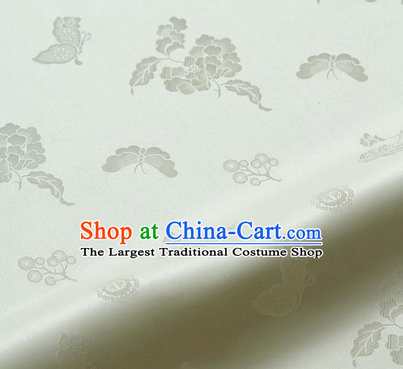 Asian Korean Traditional White Brocade Fabric Classical Butterfly Peony Pattern Silk Fabric Hanbok Silk Material