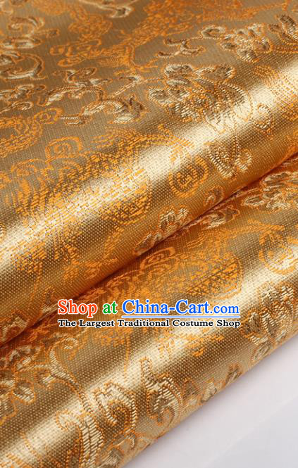Chinese Traditional Golden Brocade Fabric Tang Suit Classical Pattern Design Tang Suit Silk Material Satin Drapery