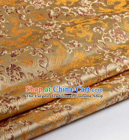 Chinese Traditional Deep Golden Brocade Fabric Tang Suit Classical Dragons Pattern Design Silk Material Satin Drapery