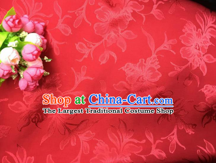 Chinese Traditional Apparel Fabric Red Qipao Brocade Classical Peony Pattern Design Silk Material Satin Drapery