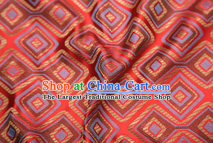 Chinese Traditional Apparel Qipao Fabric Red Brocade Classical Pattern Design Material Satin Drapery