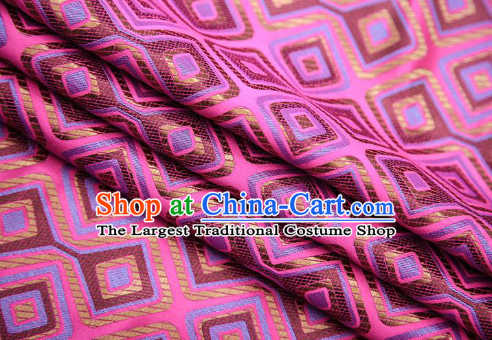 Chinese Traditional Apparel Qipao Fabric Rosy Brocade Classical Pattern Design Material Satin Drapery