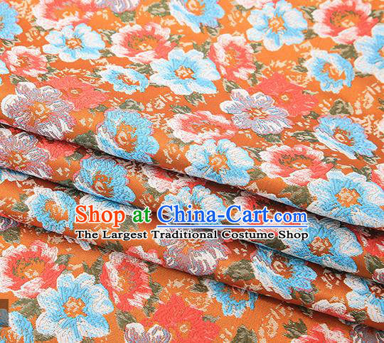 Top Grade Orange Satin Chinese Traditional Brocade Fabric Qipao Dress Classical Pattern Design Material Drapery