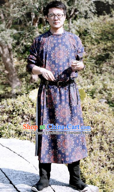 Chinese Ancient Tang Dynasty Blue Round Collar Robe Swordsman Imperial Bodyguard Costumes for Men