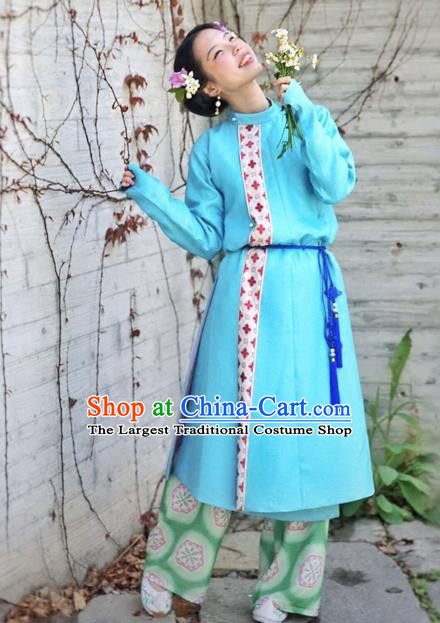 Chinese Ancient Tang Dynasty Young Lady Swordswoman Blue Costumes for Women