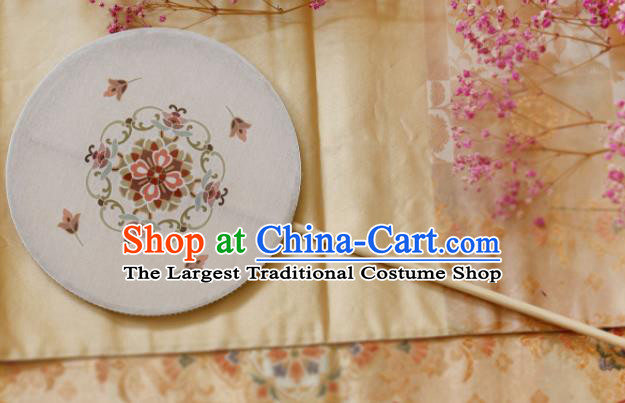 Chinese Ancient Handmade Palace Fans Traditional Hanfu White Silk Round Fans for Women