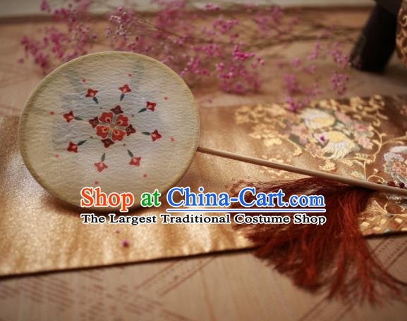 Chinese Ancient Handmade Beige Palace Fans Traditional Hanfu Round Fans for Women