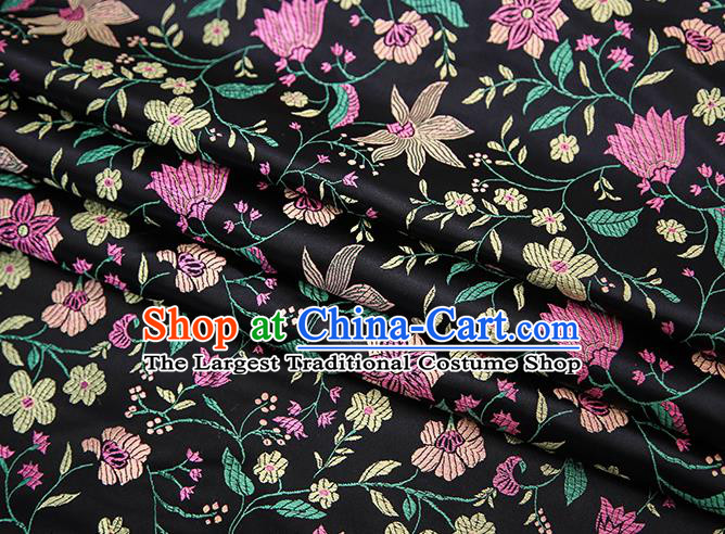 Traditional Chinese Black Satin Tang Suit Brocade Fabric Classical Flowers Pattern Design Silk Material Drapery