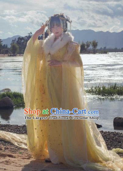Traditional Chinese Cosplay Palace Princess Hanfu Dress Ancient Peri Embroidered Costumes and Headpiece Complete Set
