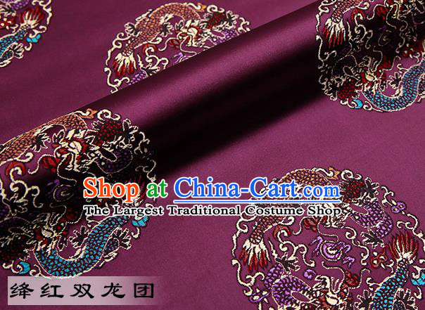 Chinese Traditional Amaranth Satin Classical Dragons Pattern Design Brocade Fabric Tang Suit Material Drapery