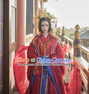 Traditional Chinese Cosplay Wedding Red Hanfu Dress Ancient Princess Embroidered Costumes and Headpiece for Women
