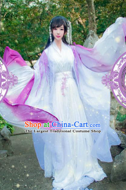 Ancient Chinese Cosplay Swordswoman Hanfu Dress Traditional Princess Embroidered Costumes and Headpiece Complete Set