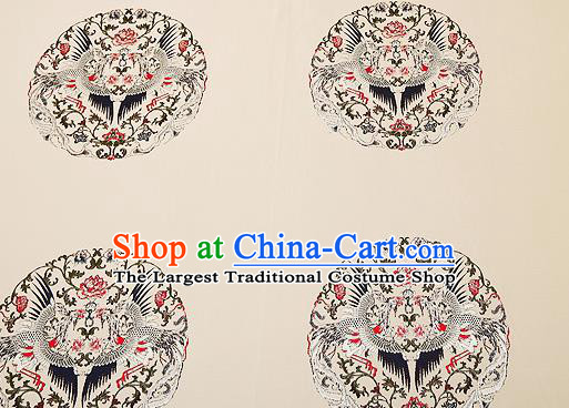 Top Grade Phoenix Pattern Beige Brocade Chinese Traditional Garment Fabric Cushion Satin Material Drapery