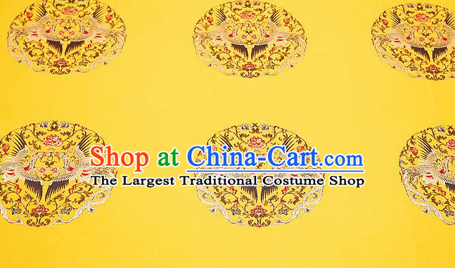 Top Grade Phoenix Pattern Yellow Brocade Chinese Traditional Garment Fabric Cushion Satin Material Drapery