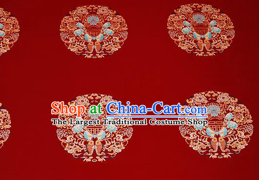 Top Grade Double Fishes Pattern Red Brocade Chinese Traditional Garment Fabric Cushion Satin Material Drapery