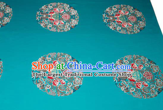 Top Grade Double Fishes Pattern Green Brocade Chinese Traditional Garment Fabric Cushion Satin Material Drapery