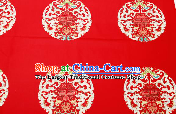 Top Grade Classical Dragons Pattern Red Brocade Chinese Traditional Garment Fabric Cushion Satin Material Drapery
