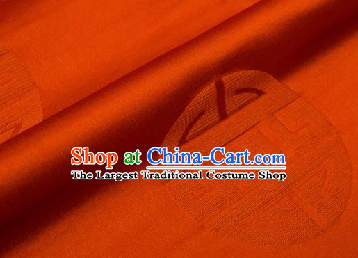 Top Grade Classical Pattern Orange Brocade Chinese Traditional Garment Fabric Cushion Satin Material Drapery
