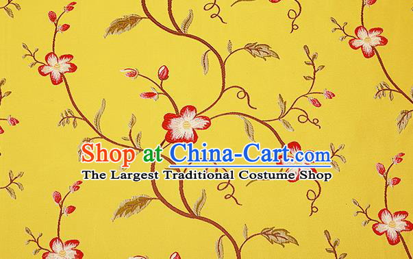 Top Grade Classical Cirrus Flowers Pattern Yellow Brocade Chinese Traditional Garment Fabric Cushion Satin Material Drapery