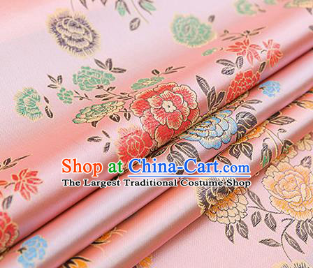 Top Grade Classical Peony Pattern Pink Brocade Chinese Traditional Garment Fabric Qipao Dress Satin Material Drapery