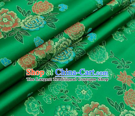 Top Grade Classical Peony Pattern Green Brocade Chinese Traditional Garment Fabric Qipao Dress Satin Material Drapery