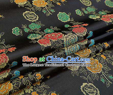Top Grade Classical Peony Pattern Black Brocade Chinese Traditional Garment Fabric Qipao Dress Satin Material Drapery