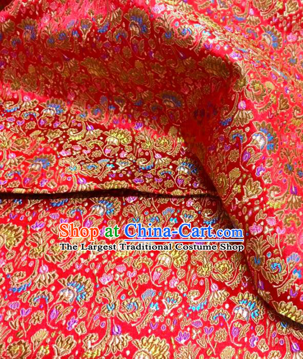 Top Grade Classical Cockscomb Pattern Red Brocade Chinese Traditional Garment Fabric Qipao Dress Satin Material Drapery