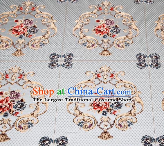 Top Grade Classical Fleur Bouquet Pattern Blue Brocade Chinese Traditional Garment Fabric Cushion Satin Material Drapery