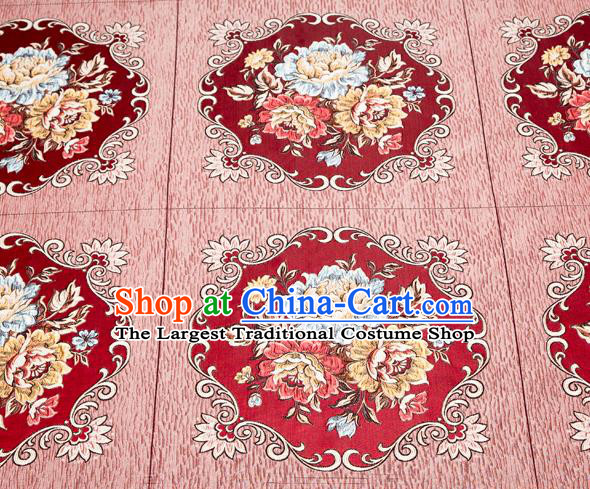 Top Grade Classical Flowers Pattern Wine Red Brocade Chinese Traditional Garment Fabric Cushion Satin Material Drapery
