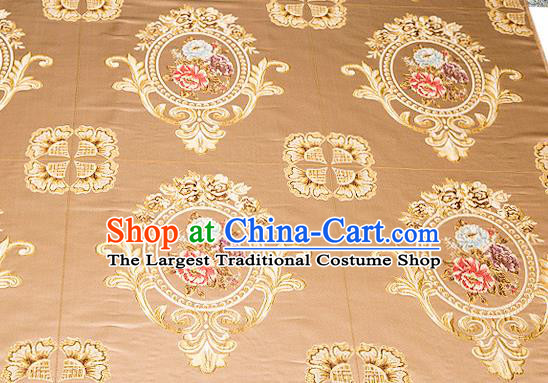 Top Grade Classical Flocked Peony Pattern Bronze Brocade Chinese Traditional Garment Fabric Cushion Satin Material Drapery