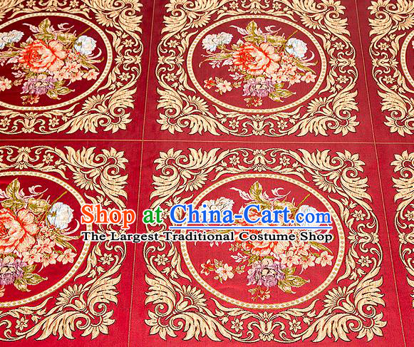Top Grade Classical Peony Flowers Pattern Red Brocade Chinese Traditional Garment Fabric Cushion Satin Material Drapery