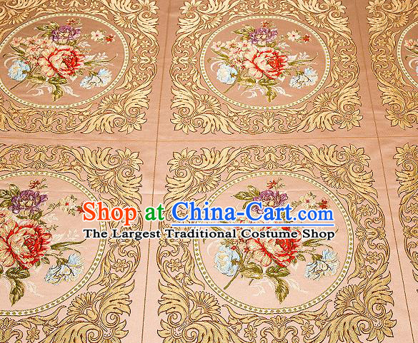 Top Grade Classical Peony Flowers Pattern Bronze Brocade Chinese Traditional Garment Fabric Cushion Satin Material Drapery