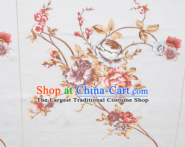 Top Grade Classical Embroidery Flowers Pattern Blue Brocade Chinese Traditional Garment Fabric Cushion Satin Material Drapery