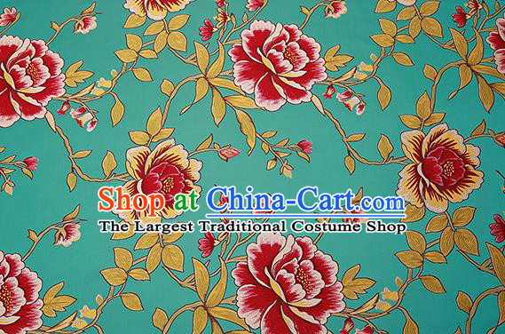 Top Grade Classical Peony Pattern Green Brocade Chinese Traditional Garment Fabric Cushion Satin Material Drapery