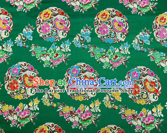 Top Grade Classical Pattern Green Nanjing Brocade Chinese Traditional Garment Fabric Tang Suit Satin Material Drapery