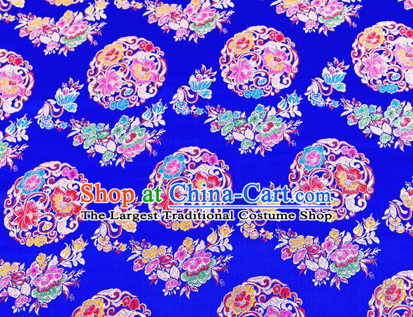 Top Grade Classical Pattern Royalblue Nanjing Brocade Chinese Traditional Garment Fabric Tang Suit Satin Material Drapery