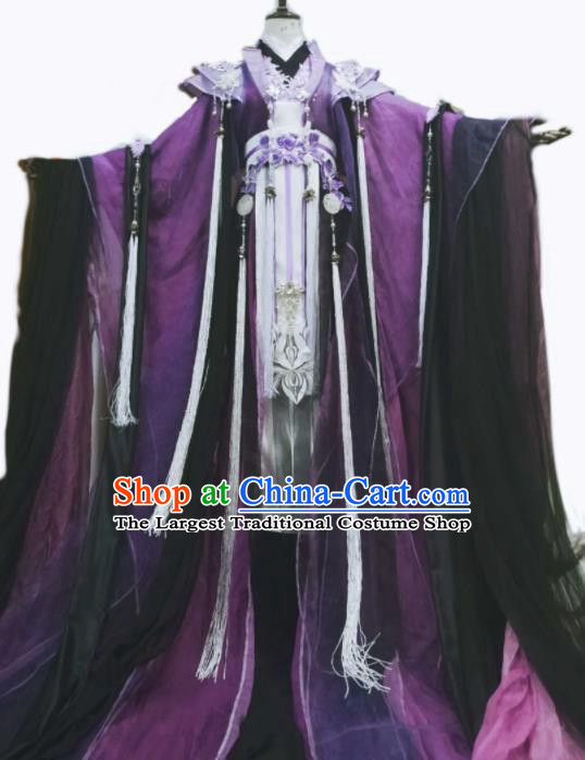 Chinese Ancient Cosplay Costumes Traditional Han Dynasty Swordsman Purple Clothing for Men